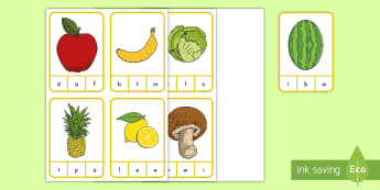 Fruits and Vegetables Beginning Sounds Peg Card Activity - healthy habits, healthy living, healthy eating, fruits, vegetables, beginning sounds, peg cards,