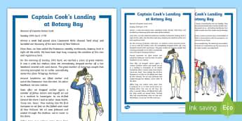 Captain Cook's Landing at Botany Bay Historical Recount Writing Sample - Explorer, British, Botany Bay, New Holland, Landing, Exploration, 18th Century, Australia, Indigenou