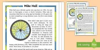 KS1 Mike Hall Differentiated Reading Comprehension Activity - Mike Hall, cycle, cyclist, bike, bicycle, race, racing, adventure, adventurer, helmet, safety, Ultra