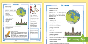 Ottawa Fact File - Canada's 150th Birthday, Canada, geography, history, social studies, Canada Day, Canada's Province