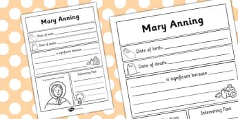 Mary Anning Significant Individual Writing Frame - writing frame