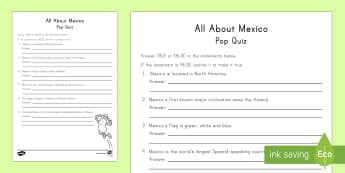 All About Mexico Pop Quiz Worksheet / Activity Sheet - Cinco de Mayo Worksheets. Mexico, History, Social Studies, Geography, Ancient Civilizations, North America, KS2, Assessment