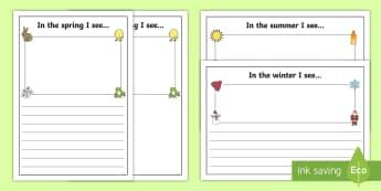 Seasons I See Writing Frames - seasons, writing frames, seasons writing frames, themed writing frames, summer, autumn, winter, spring, season theme