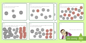 US Money Task Cards - Common Core, Second Grade, Measurement, Money, dollars, dimes, cents, adding money, subtracting mone