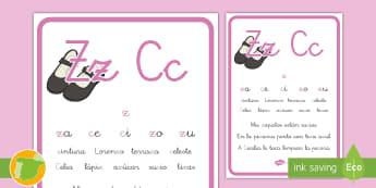 Cartilla de lectura: La letra Z y C - lecto, sonidos, lecto-escritura, fonemas, sonidos, consonantes, lengua P5, lengua 5AI, Lengua primer