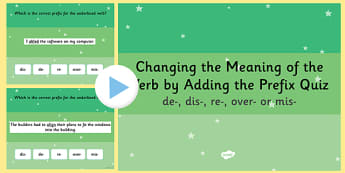 Changing the Meaning of the Verb  SPaG PowerPoint Quiz - SPaG