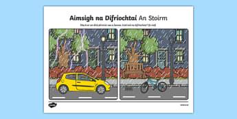 An Stoirm, Aimsigh na Difríochtaí Activity Sheet - Irish, worksheet