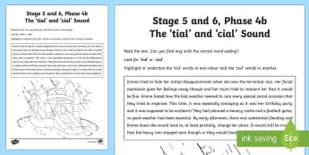 Northern Ireland Linguistic Phonics Stage 5 and 6, Phase 4b 'tial/cial' Sound Worksheet / Activity Sheet  - NI, Worksheet, 'tial', 'cial', sound search, text