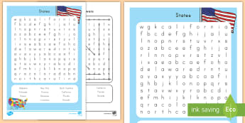 States Word Search - Capitals, USA States, US States, US Capitals, USA Capitals, Cities, USA Capital Cities, 50 States, F