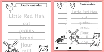 The Little Red Hen Trace the Words Worksheets - trace, words, hen
