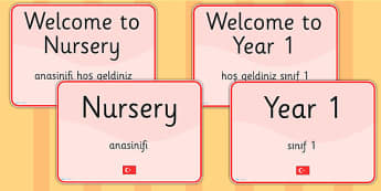 School Year Group Signs EAL Turkish Version - language, EAL, sign