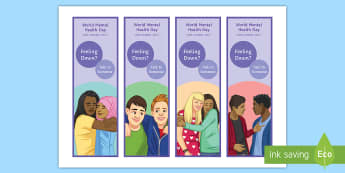 Feeling Down? Bookmarks English - Mental Health awareness, mental health, Mental health awareness day, depression, feeling down