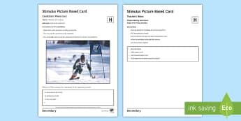 Winter Olympics 2 Higher Tier Photo Card Activity Spanish - talk, picture, photo, develop, ideas