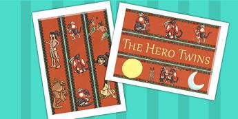 The Hero Twins Mayan Civilization Story Display Borders - mayans