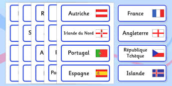 Euro 2016 Countries Word Cards French - French