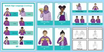 British Sign Language BSL Greetings Display Pack - british sign language, bsl, deaf, hard of hearing, HH, HoH, Ddeaf, D/deaf, deafblind, communication,