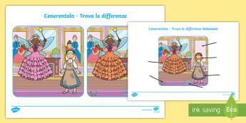Cenerentola trova le differneze Attività - favola, fiaba, leggere, scrivere, italiano, italian, materiale, scolastico