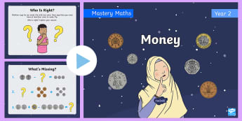 Year 2 Maths Mastery Money PowerPoint - Reasoning, Problems, workings, coins, amounts, Measure, measurement, units, penny, pennies, pound, p