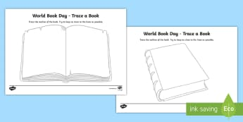 KS1 World Book Day Trace a Book Activity Sheet - pencil control, reading, story, worksheet