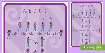 Waiata A E I O U A4 Display Poster - te reo maori, waiata, music, early childhood education, te wiki o te reo maori, maori language week