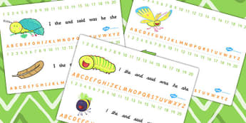 Combined Number and Alphabet Strips to Support Teaching on The Crunching Munching Caterpillar