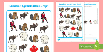 Canadian Symbols Data Handling Activity Sheet - Social Studies, Canadian Symbols, Canada, Data, Math, Block Graph, Primary, Grade 1, Grade 2, Grade