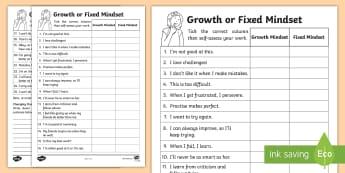 KS1 Growth And Fixed Mindset Comments Activity Sheet - Carol Dweck, PMA, positive mental attitude, behaviour, attitude to learning, attitude, mindset, ment