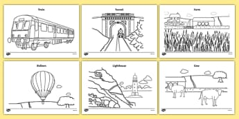 The Train Ride Colouring Sheets - The Train Ride, June Crebbin, journey, transport, resources, rhyme, rhythm, tractor, story, story book, story book resources, story sequencing, story resources, Colouring Sheets, colouring, colouring activity,