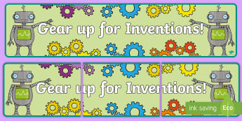 Inventions Display Banner - inventions, inventing, robots, cogs, gears, display banner, inventions display banner, bulletin boar