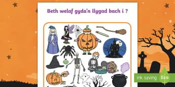 Taflen Weithgaredd Beth Welaf Gyda'n Llygad Bach i? Calan Gaeaf - Halloween, I spy, Calan, Gaeaf, Beth, WElsf, gyda'n llygad, bach, i,