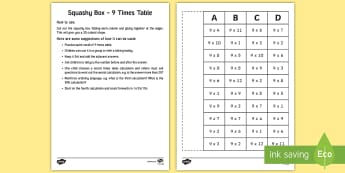 Squashy Boxes 9 Times Tables Craft - ireland, northern ireland, squashy boxes, squashy box, times tables, craft, box, activity, 9x