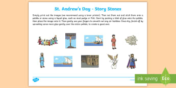 St Andrew's Day Story Stone Cut-Outs - Saint, Patron, Scotland, Disciple, saltire, tartan, Culture, dance,