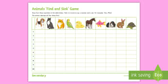 Animals 'Find and Sink' Game German - Animal Vocabulary, Speaking, KS3, Numbers, Differentiated,German
