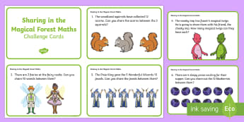Sharing in the Magical Forest Maths Challenge Cards  Challenge Cards - number problems, sharing, division, maths, number, ELG, fairies, wizards, elves, pixies, magic, wood