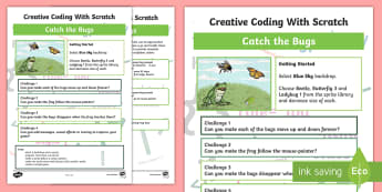 Catch the Bugs Scratch Activity Sheet - KS2, curriculum aims, computing, programming, coding, algorithms, instructions, commands, Scratch