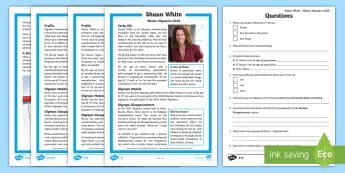 KS2 Shaun White 2018 Winter Olympic Athlete Differentiated Reading Comprehension Activity - reading comprehension, winter sports, south korea, United states athletes, non fiction text