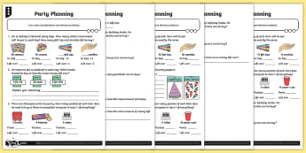 Using Remainders Differentiated Activity Sheets - Multiplication and Division, divide, division, remainders, word problems, Solve problems involving m