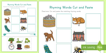Rhyming Words Cut and Paste Activity Sheet -  Phonological Awareness, Rhyming Matching, Rhyming Sounds, worksheet, Word Families, Cutting Skills