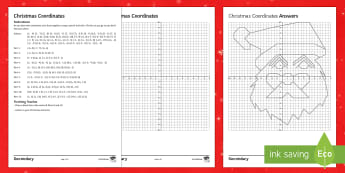 Christmas Coordinates Santa Activity Sheet - Co-Ordinates, Coordinates, Christmas, Plotting, Quadrant, Graph, santa, higher ability