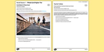 Social Issues 1 GCSE Higher Tier Photo-Card French - speaking, oral, sport, exercise, health, healthy, living, life,style