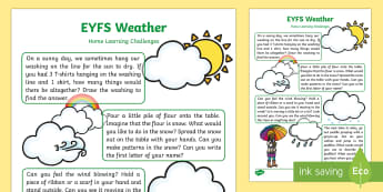 EYFS Weather Home Learning Challenges Nursery FS1 - weather, home learning, homework, home school links, EYFS. early years planning