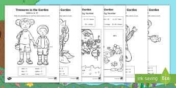 Treasures in the Garden Addition Colour by Number - twinkl originals, fiction, story, lost, adding, 0-10, 0-20