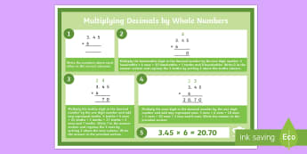 Y6 Multiplying Decimals by Whole Numbers Display Poster - formal written method, multiplication method, multiplication strategies, decimal numbers, multiply d