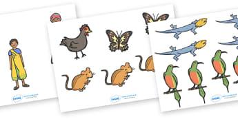 Handa's Hen Stick Puppets - Handa's Hen, Eileen Browne, Africa, African culture, African animals, counting, Mondi, sunbirds, bullfrogs, spoonbills, story, story book, story book resources, story sequencing, story resources, stick puppet