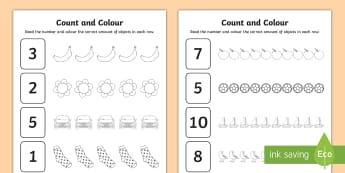 Count and Colour Activity Sheet - worksheet, colouring, counting, numbers, up to 10, objects, independent, infants