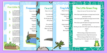 Frog-Themed Songs and Rhymes Resource Pack - life cycle, frogspawn, tadpole, froglet, singing, spring, growth, growing, early years, eyfs