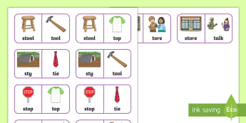 'st' and 't' Near Minimal Pair Dominoes - st, cluster reduction, cluster simplification, minimal pairs, near minimal pairs, speech, blends, sp