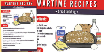 Wartime Bread Pudding Recipe - wartime, recipe, bread, pudding