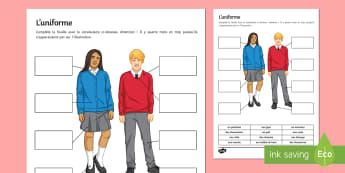 School Uniform Activity Sheet French  - Writing, KS3, Education, collège, école, éducation, uniforme, scolaire