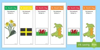 St. David's Day Bookmarks - Cennin Pedr, cennin, daffodil, leek, Cymru, Wales, Welsh, Cymraeg, darllen, reading, cardiau, cards,